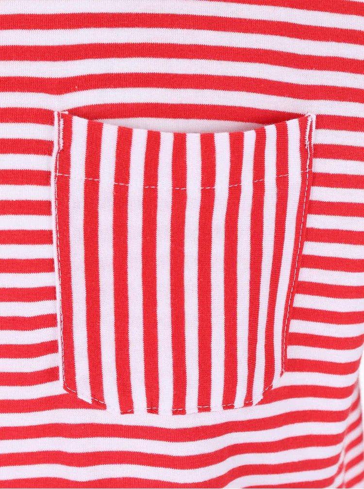 Tricou Tailored & Originals Rushden rosu/alb cu dungi