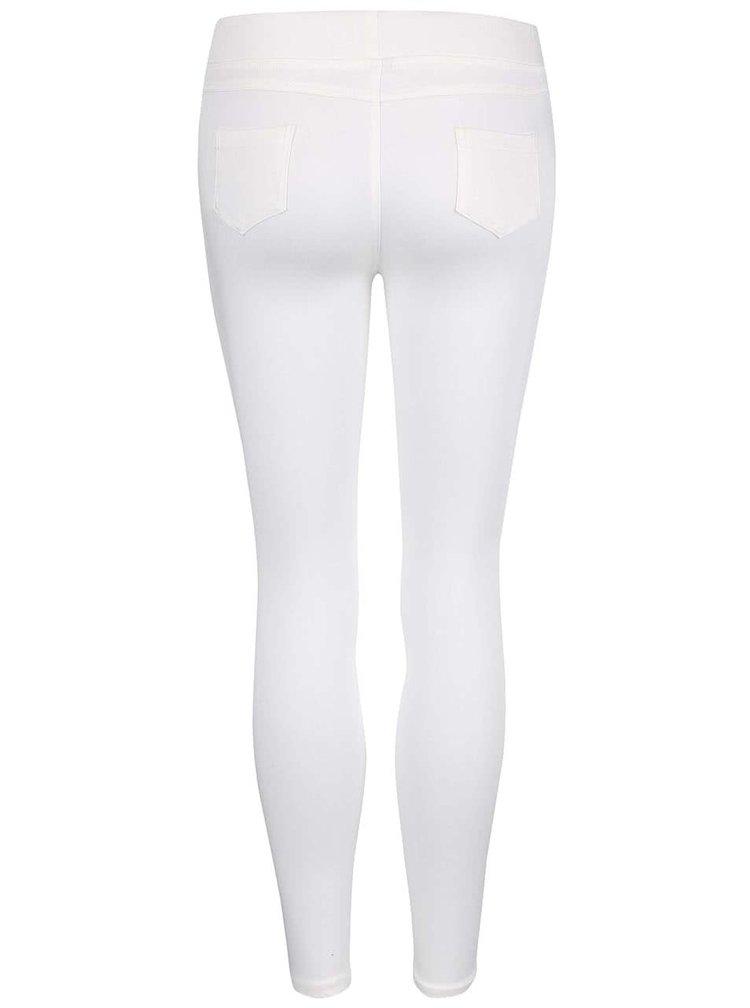 Krémové skinny kalhoty s potrhaným efektem Madonna