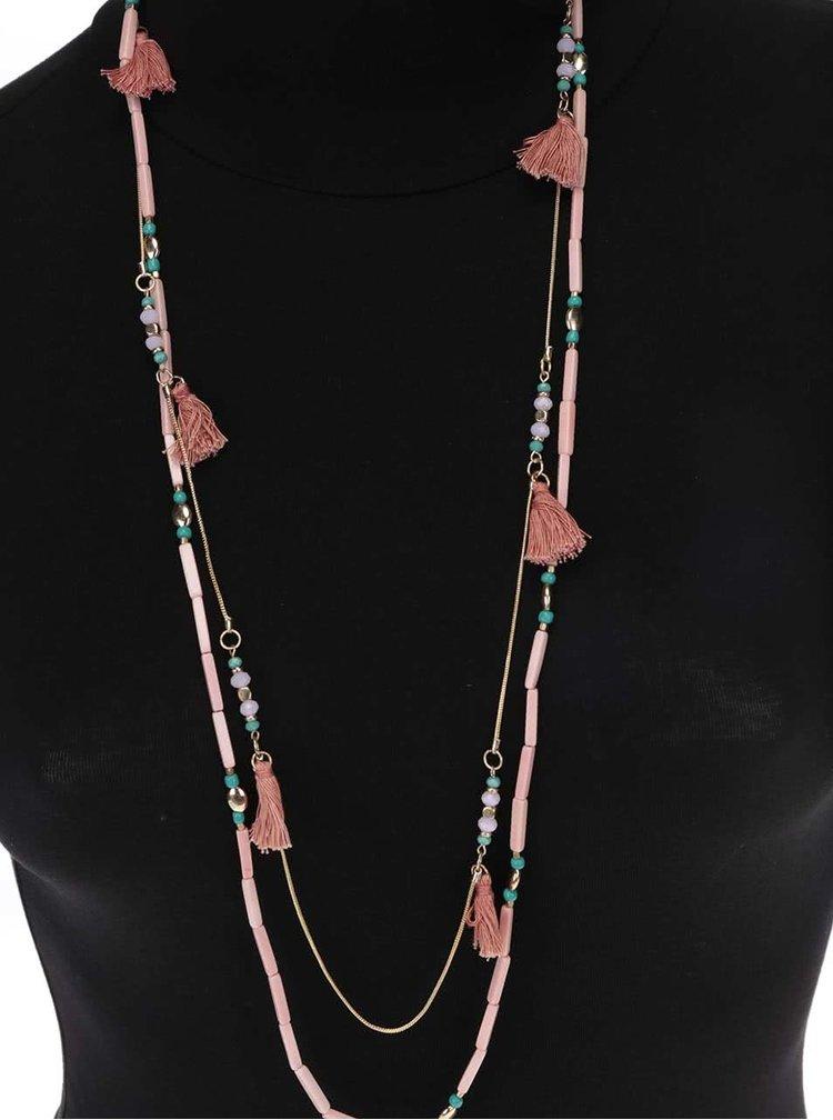 Ružový korálkový náhrdelník Pieces Becca