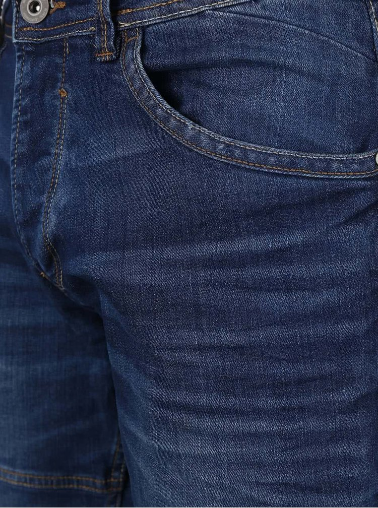 Tmavě modré delší džínové kraťasy Blend