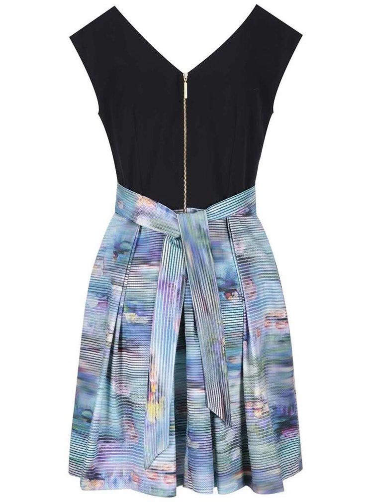 Čierne šaty s farebnou sukňou Closet