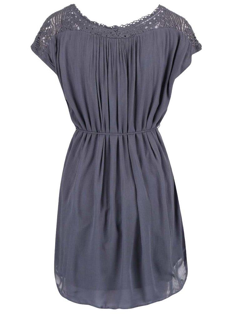 Sivomodré šaty s čipkovanými ramenami VILA Nist