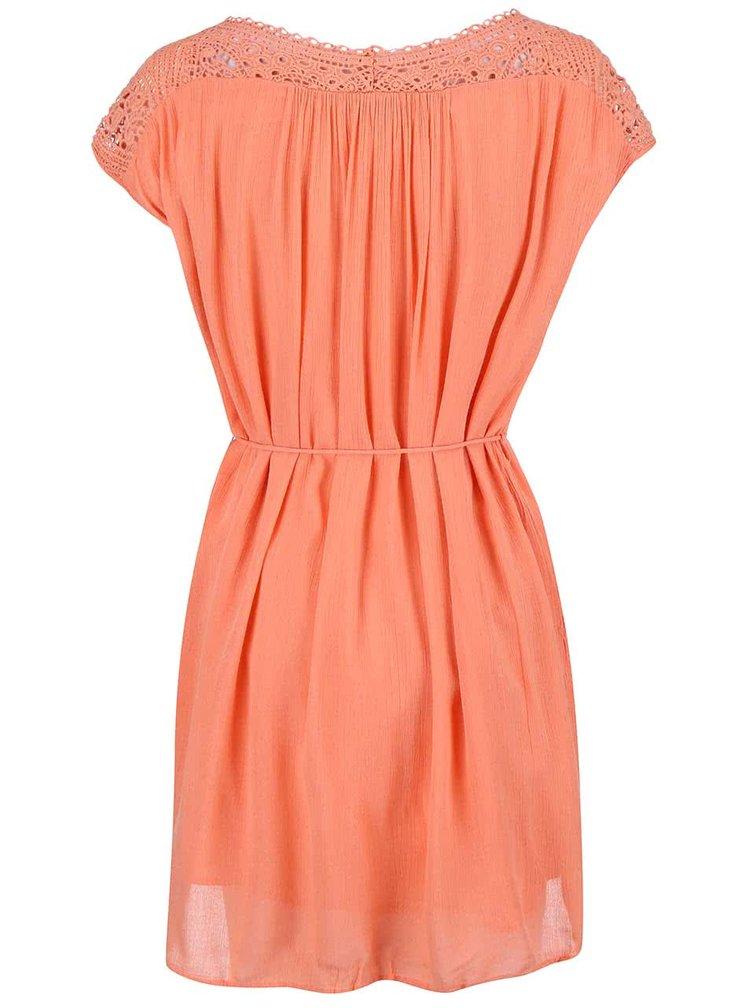 Koralové šaty s čipkovanými ramenami VILA Nist