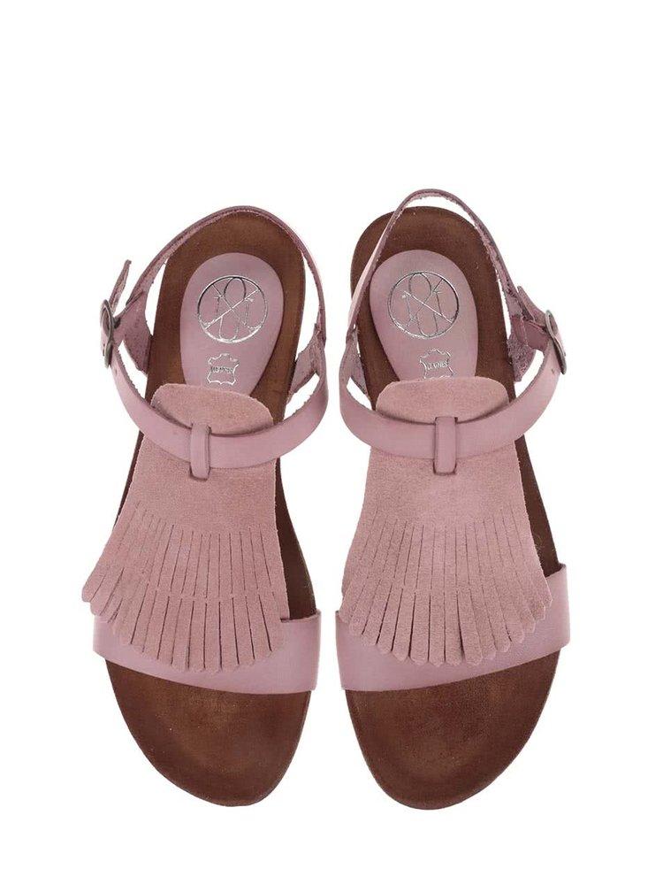 Ružové kožené sandále OJJU