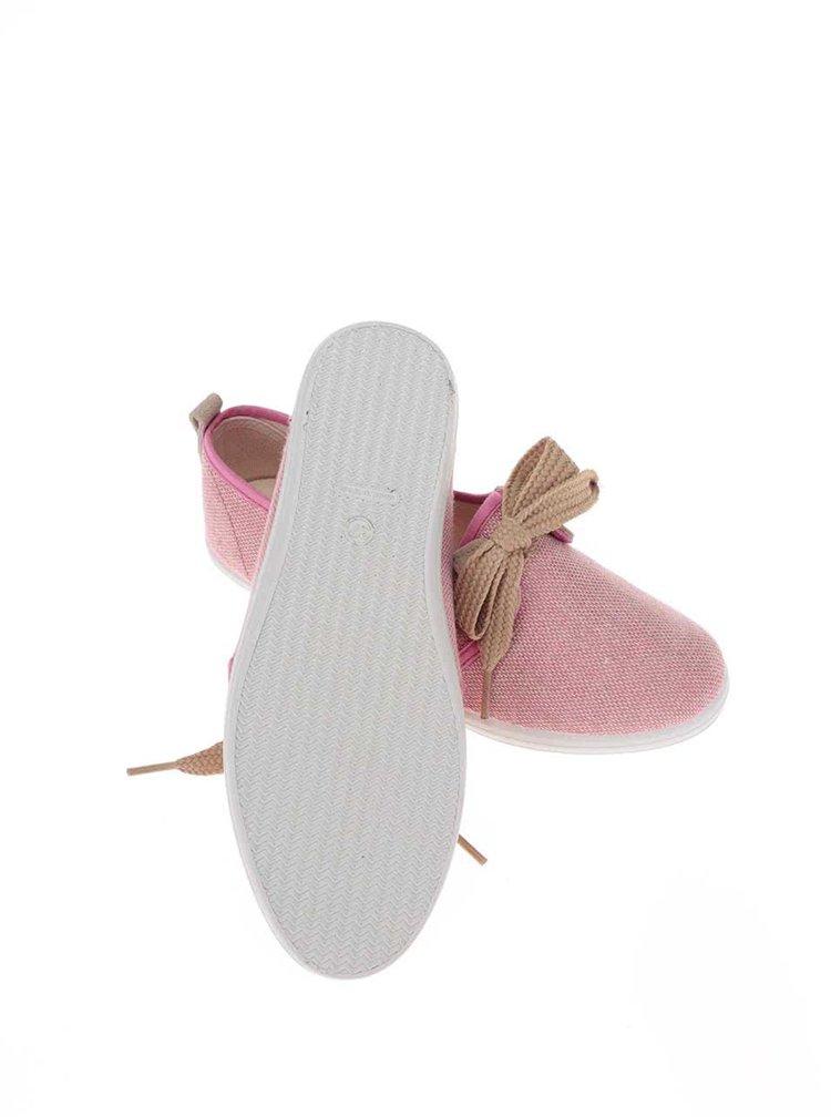 Béžovo-ružové dámske tenisky s ozdobnou mašľou OJJU Denia