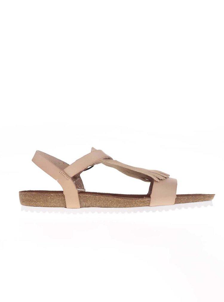 Sandale OJJU bej din piele cu franjuri