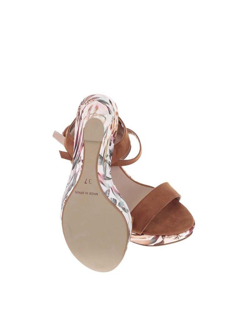 Bielo-hnedé sandále na platforme so vzorom listov OJJU