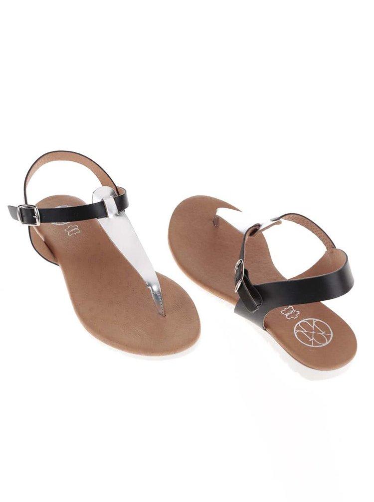 Stříbrno-černé kožené sandály OJJU