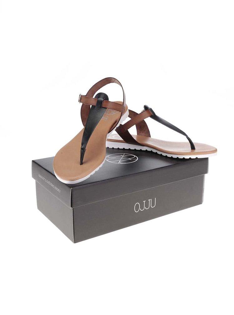Čierno-hnedé kožené sandálky OJJU
