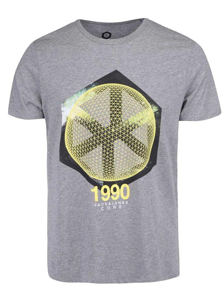Šedé žíhané triko s potiskem Jack & Jones Star