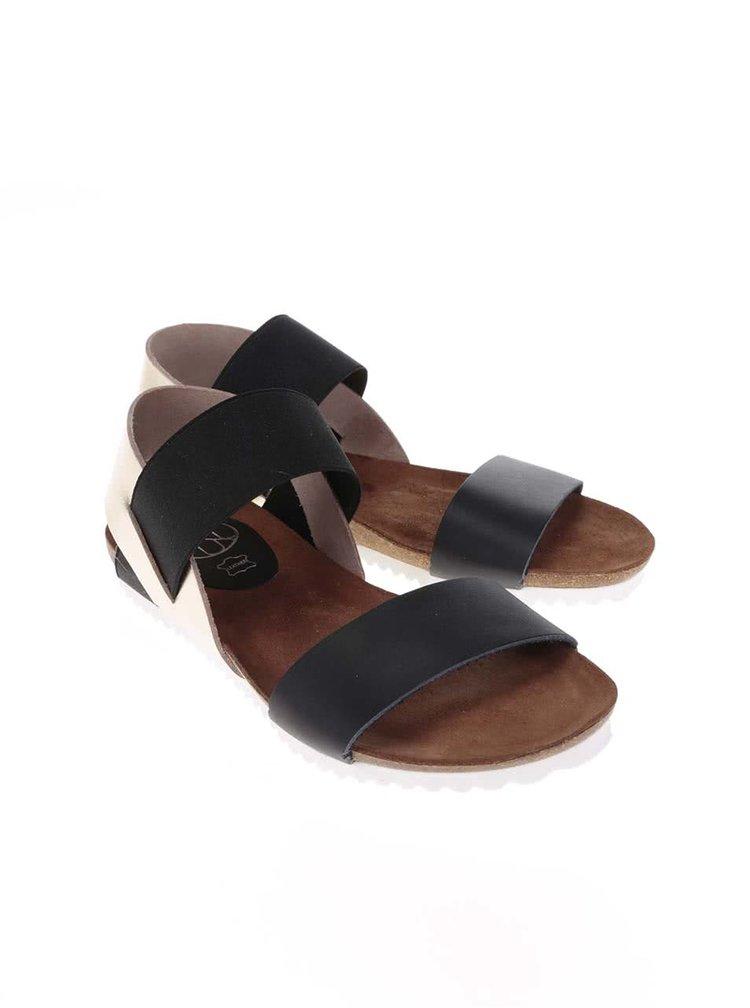 Zlato-čierne kožené sandálky OJJU