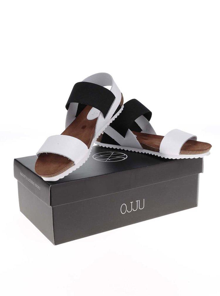 Čierno-biele kožené sandálky OJJU