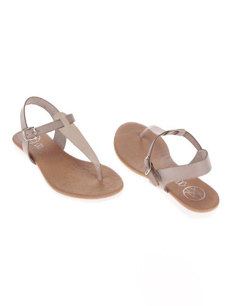 Béžovo-sivé kožené sandálky OJJU