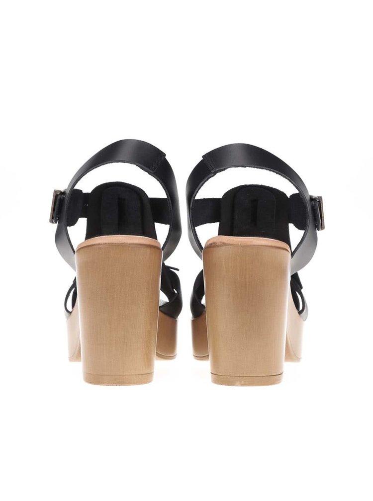 Sandale OJJU negre din piele cu toc