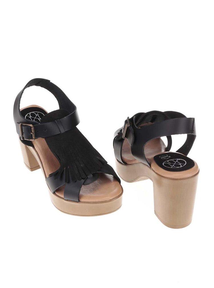 Čierne kožené sandálky na podpätku OJJU