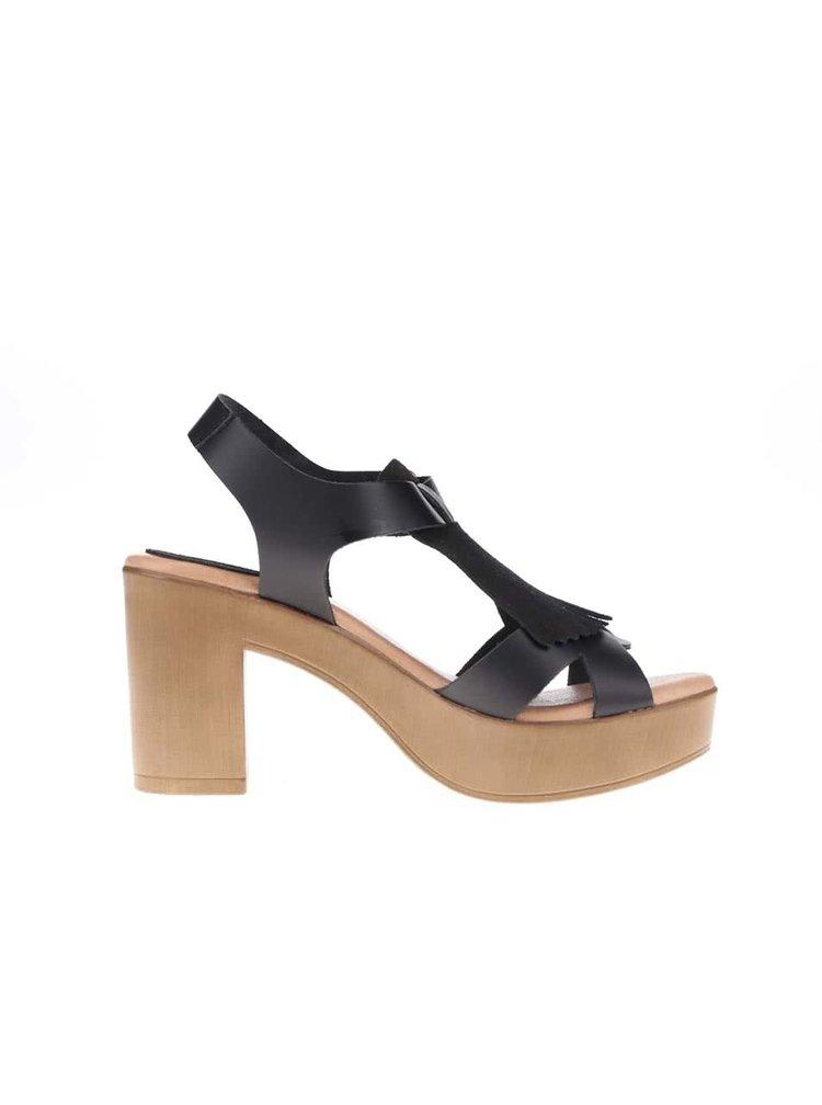 Černé kožené sandály na podpatku OJJU