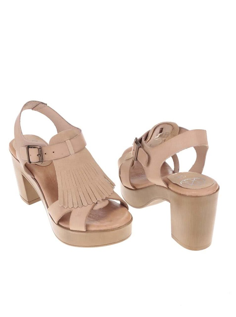 Sandale OJJU maro deschis din piele