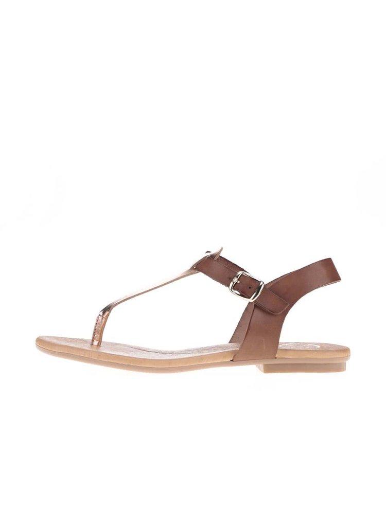 Bronzovo-hnedé kožené sandálky OJJU