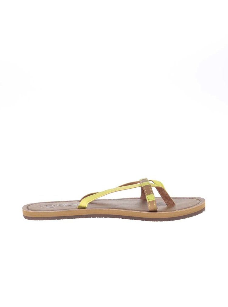 Žlto-hnedé dámske žabky s ozdobnými korálikmi Rip Curl Coco