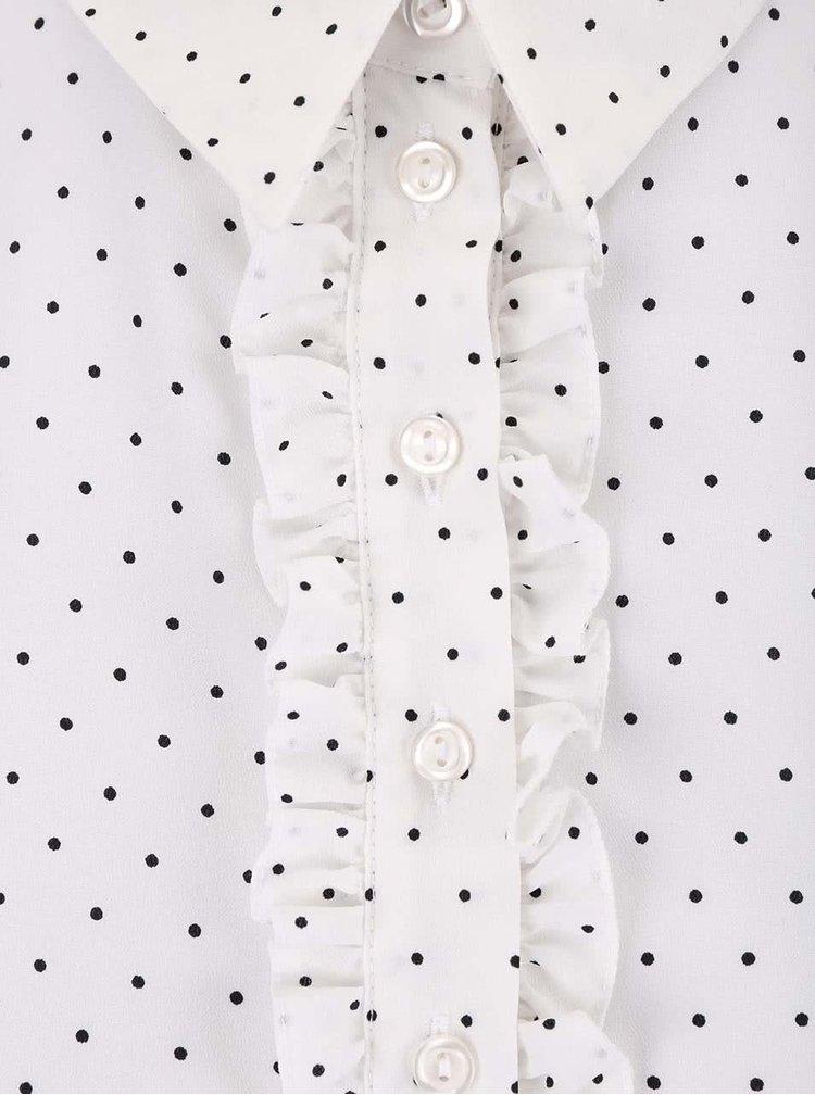 Bílá halenka s černými puntíky Dorothy Perkins Petite