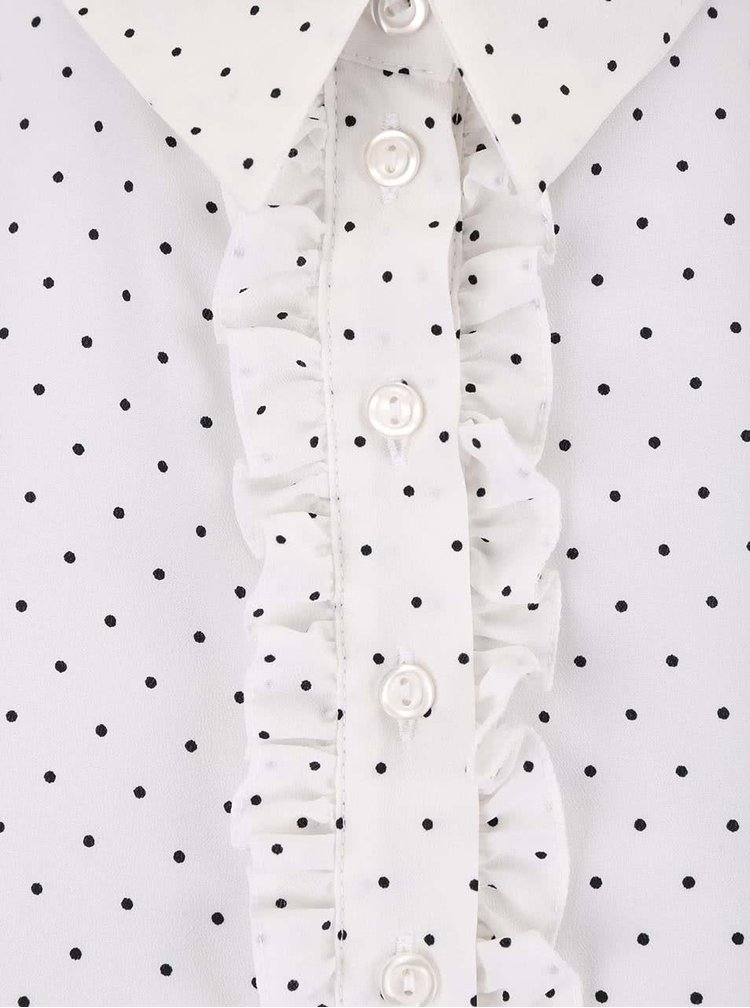 Biela blúzka s čiernymi bodkami Dorothy Perkins Petite