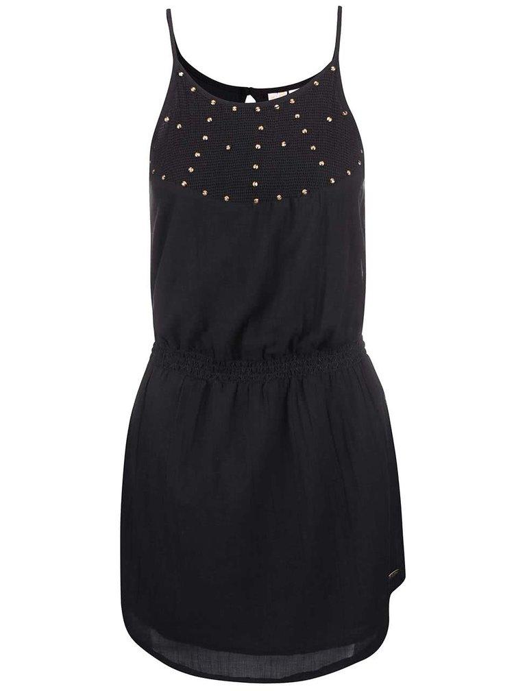 Čierne šaty s ozdobnou aplikáciou Rip Curl Lela