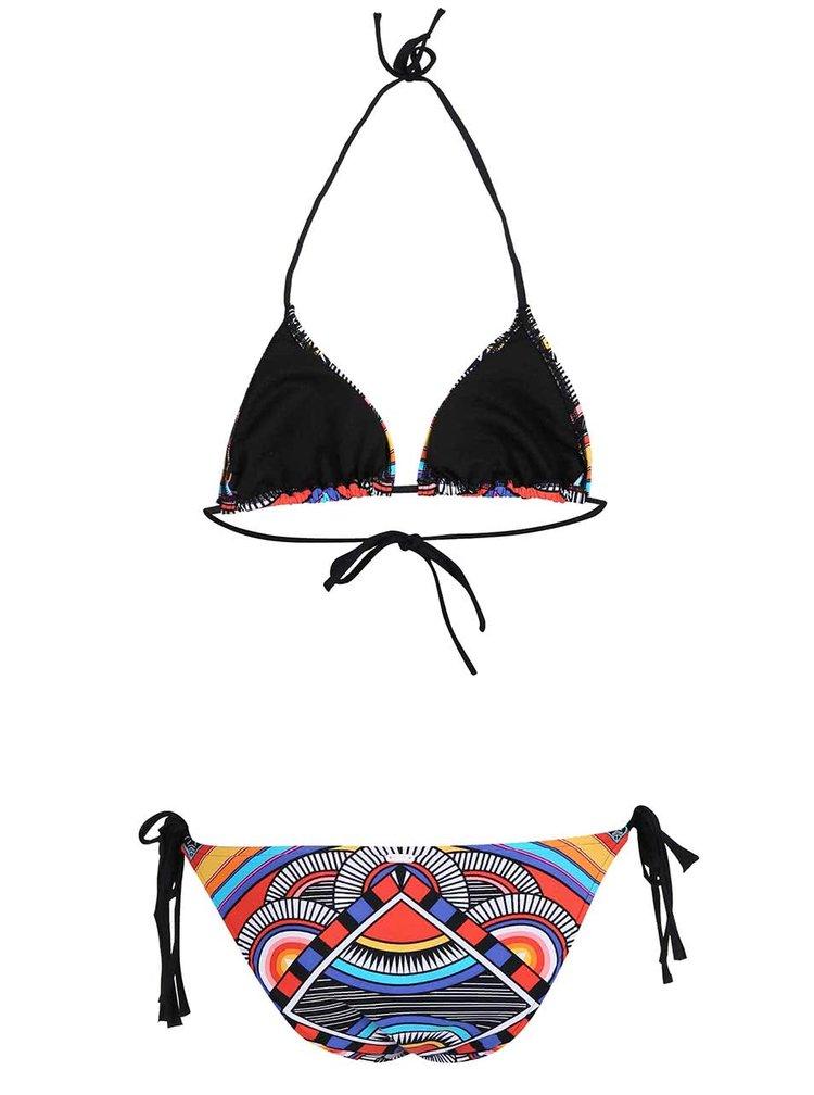 Černé dvoudílné plavky s barevnými vzory Rip Curl Tribal