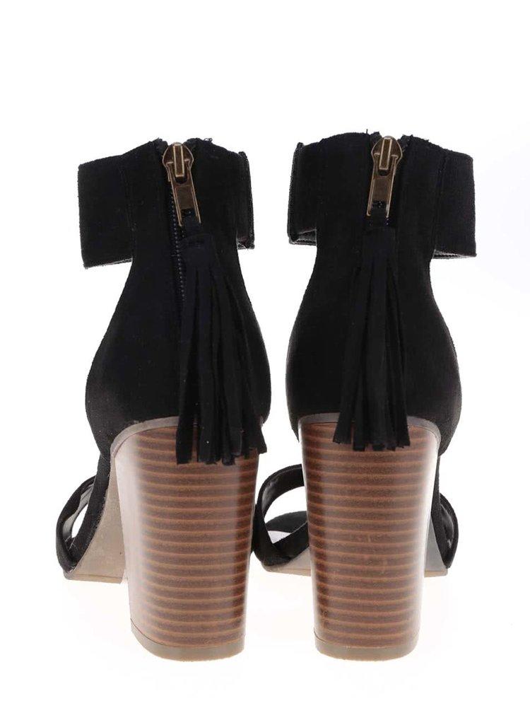 Sandale Dorothy Perkins negre cu ciucuri