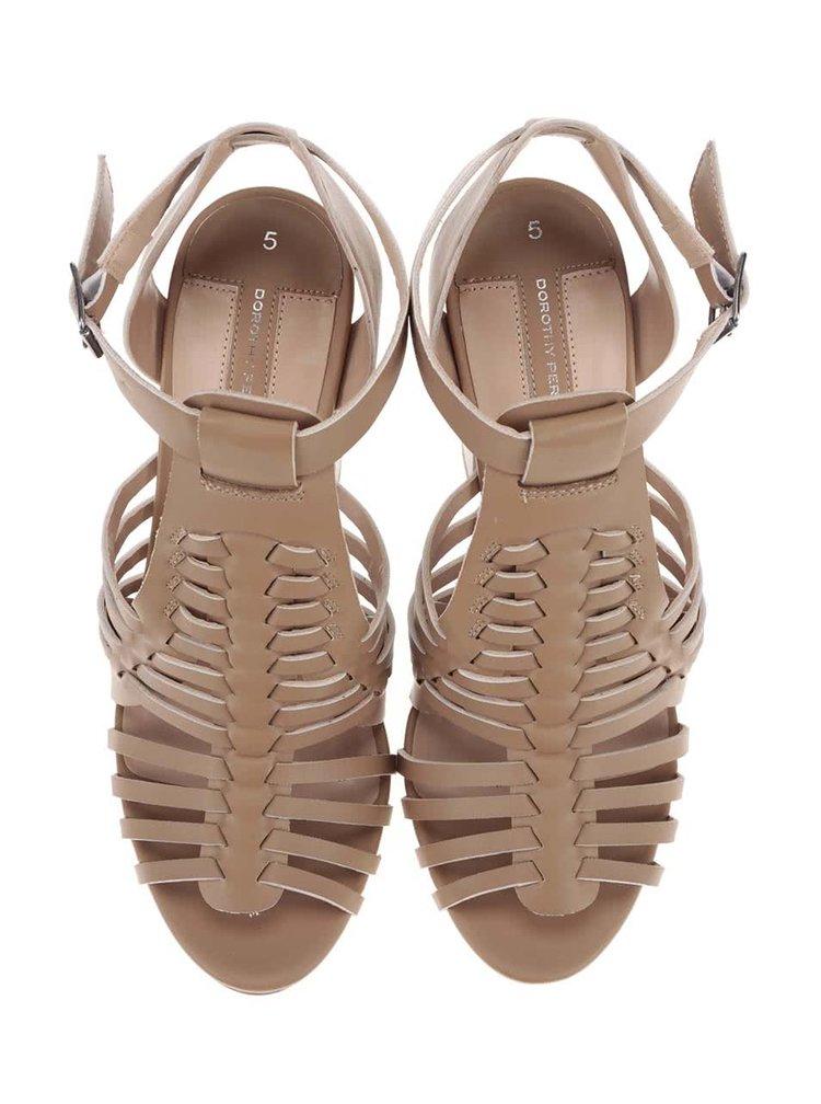Béžové sandálky na podpätku Dorothy Perkins