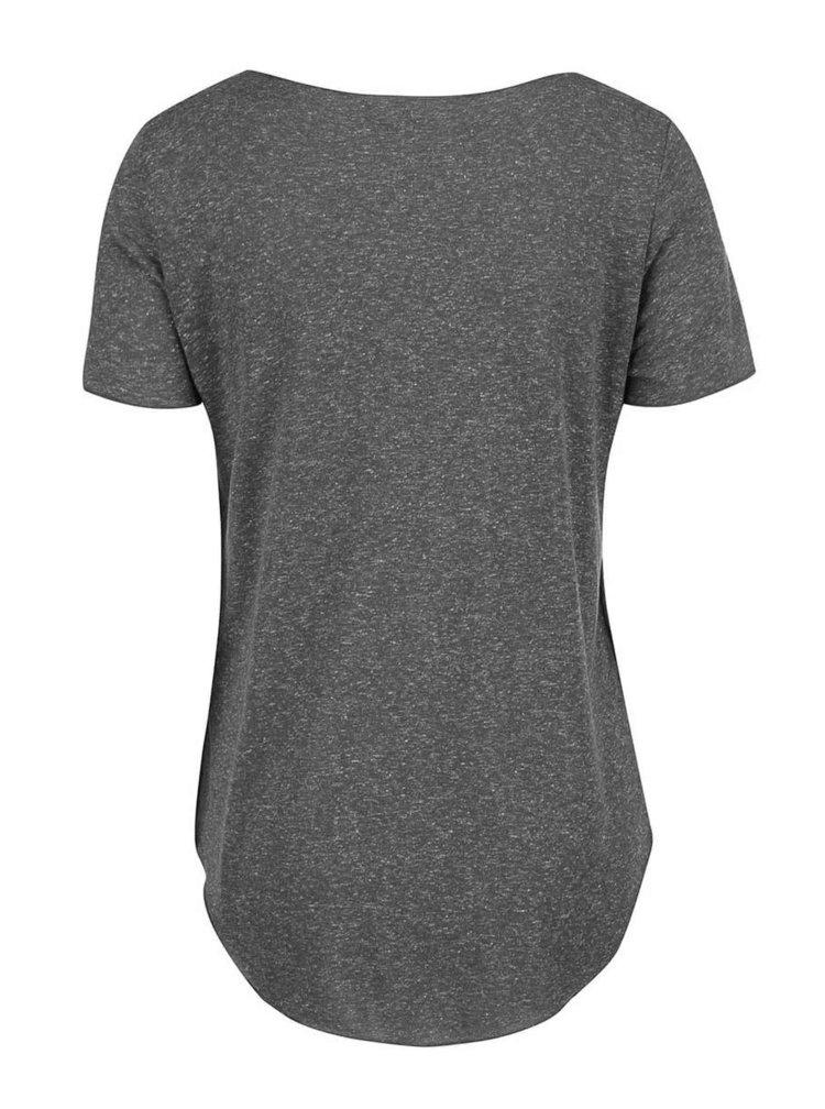 Tmavě šedé tričko s prodlouženou délkou VERO MODA Lua