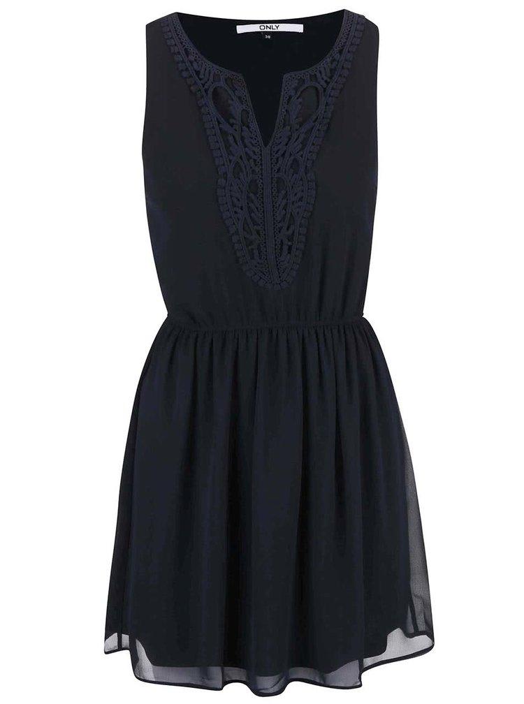 Tmavě modré šaty s krajkovaným dekoltem ONLY Carol