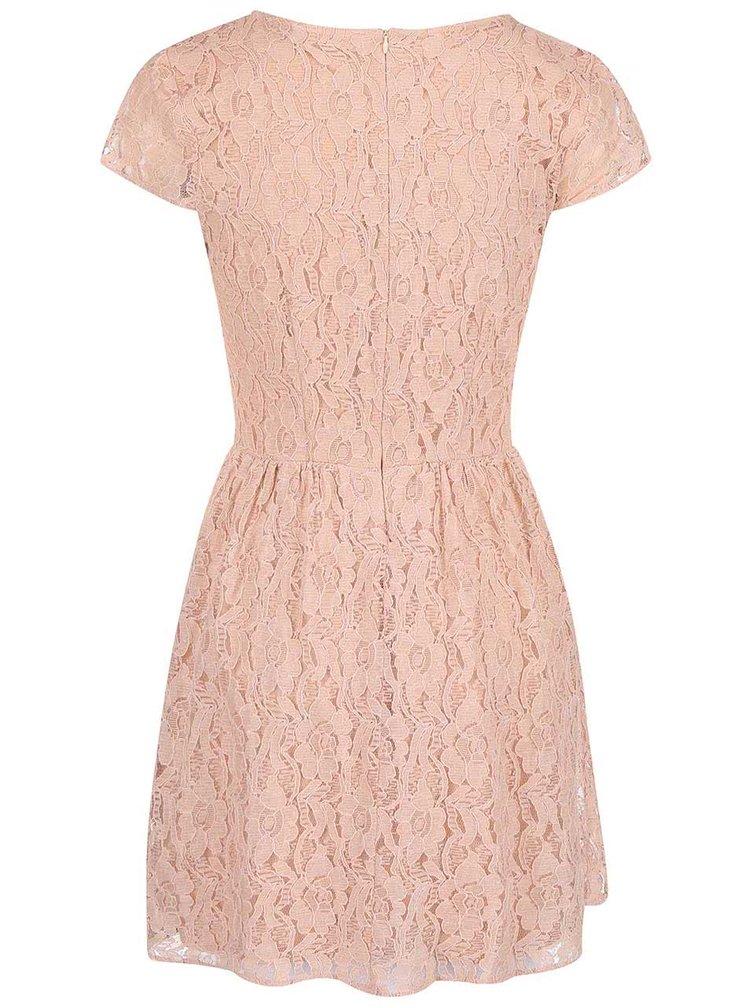Ružové čipkované šaty ONLY Marun