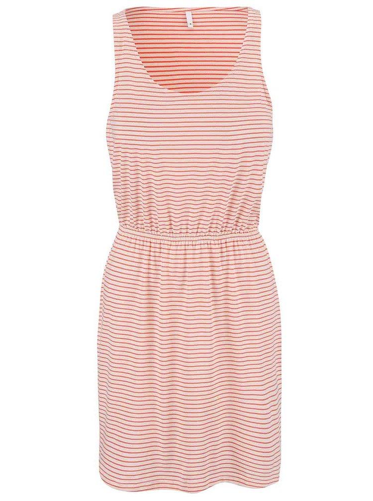 Krémovo-korálové pruhované šaty ONLY Carla