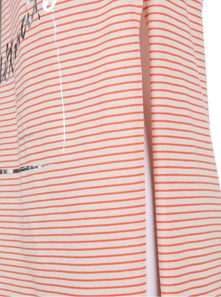 Krémovo-korálový dlouhý top s rozparky ONLY Carla