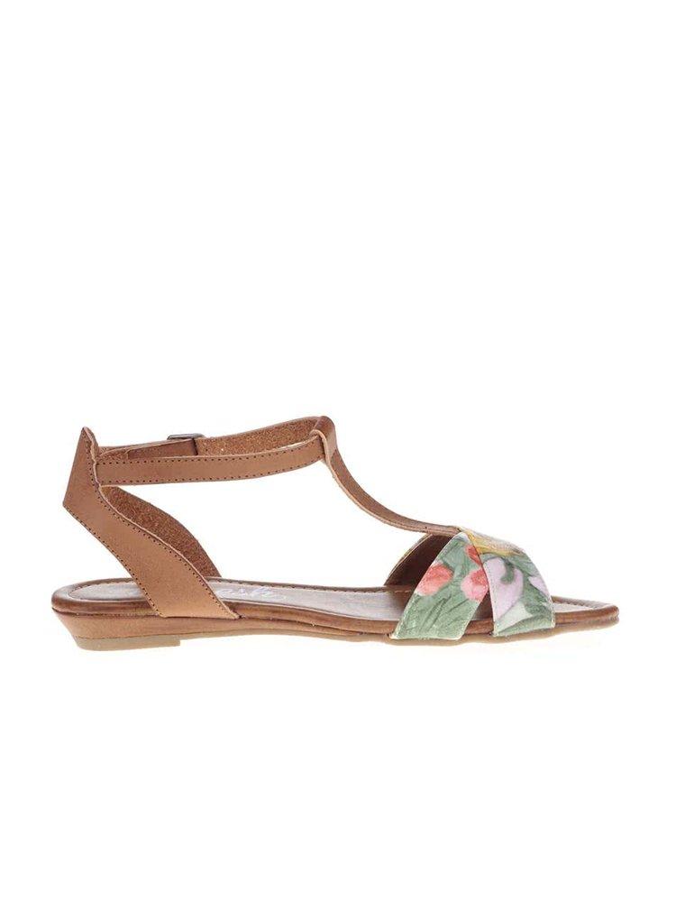 Hnědé sandálky s bílým vzorovaným páskem Refresh