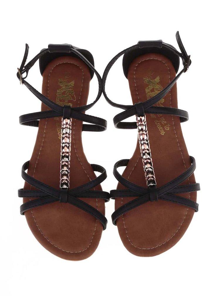 Čierne sandálky s ozdobnou aplikáciou Xti