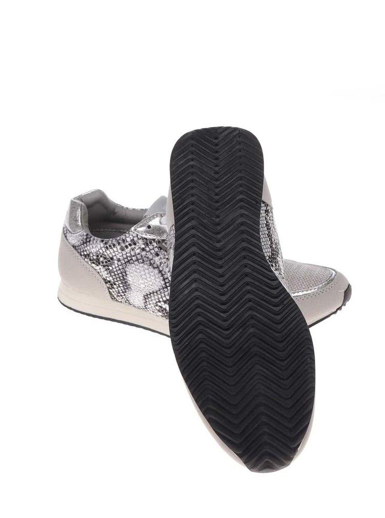 Dámske vzorované tenisky v sivo-striebornej farbe Bassed