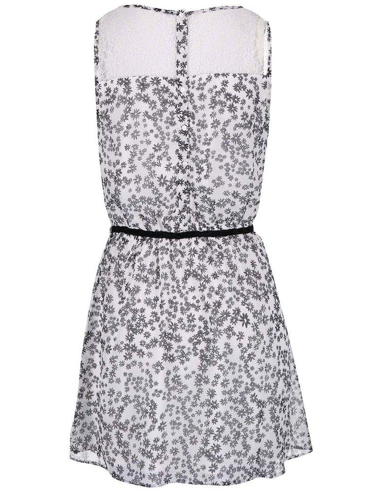Krémové květované šaty s páskem ONLY Sadie