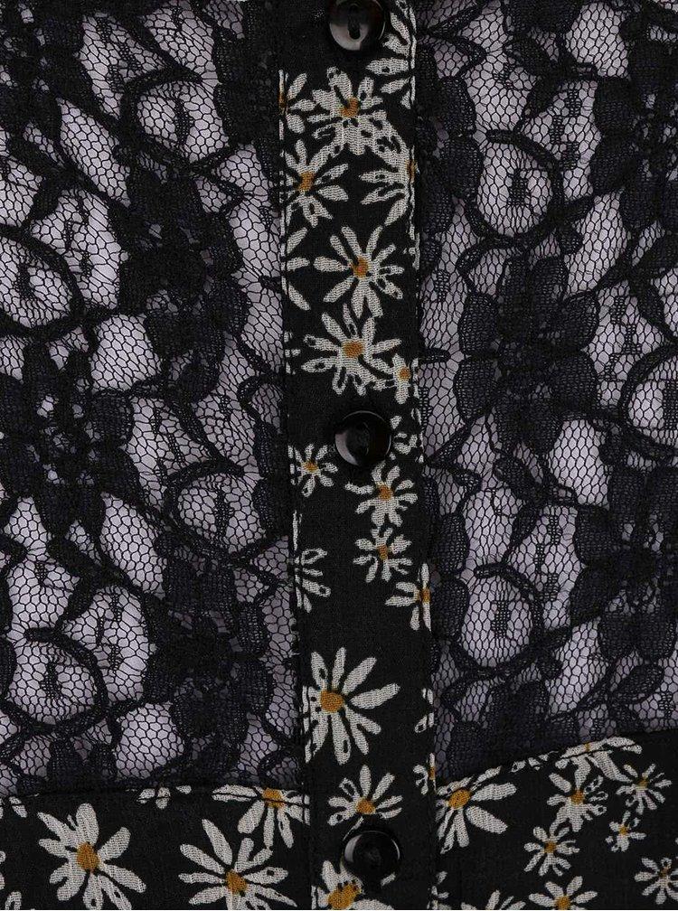 Černé květované šaty s páskem ONLY Sadie