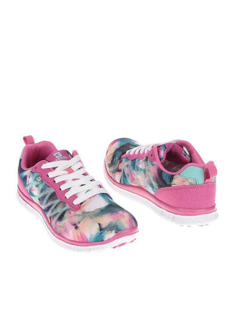 Růžové dámské tenisky s barevnými vzory Bassed