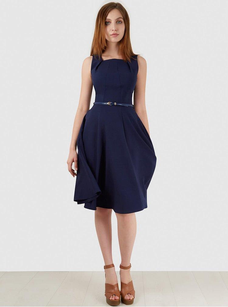 Tmavě modré šaty s páskem Closet
