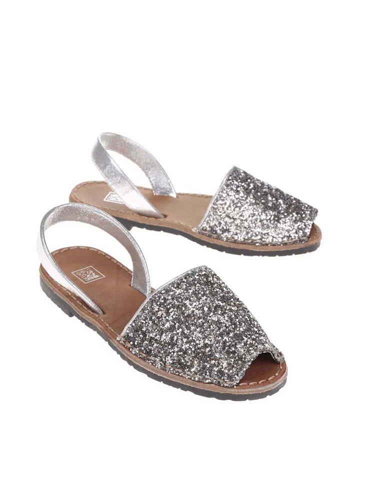 Sandale Colors of California argintii cu paiete