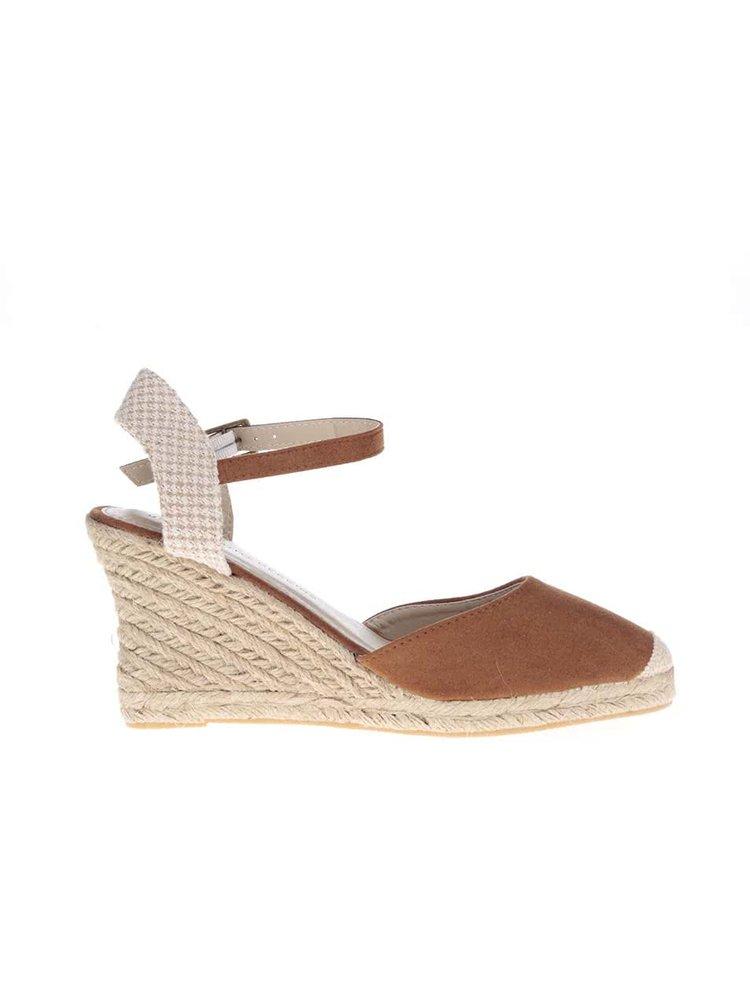 Krémovo-hnedé topánky na klinovom podpätku Dorothy Perkins