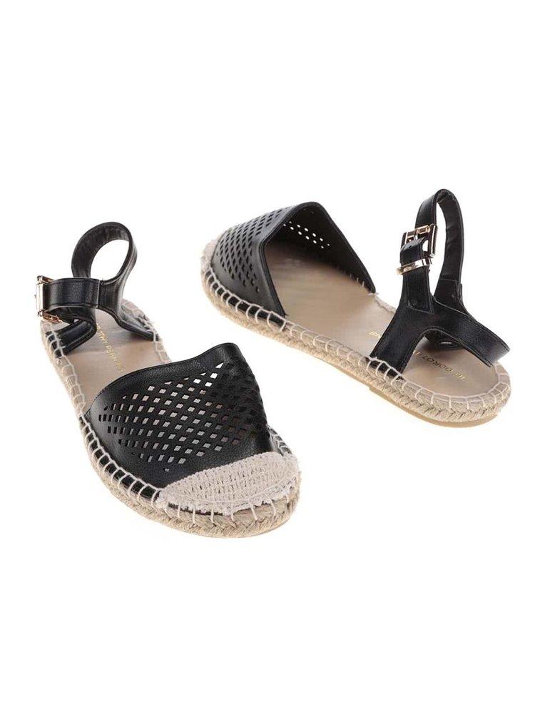 Čierne sandále s perforovanou špičkou Dorothy Perkins