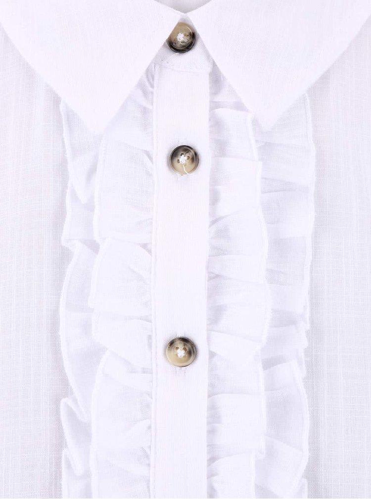 Bílá košile bez rukávů s volánky Dorothy Perkins