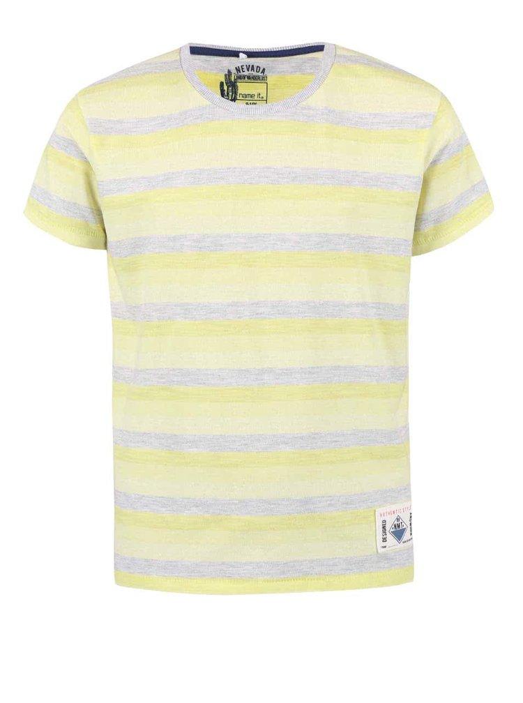Sivo-žlté chlapčenské pruhované tričko name it Harald