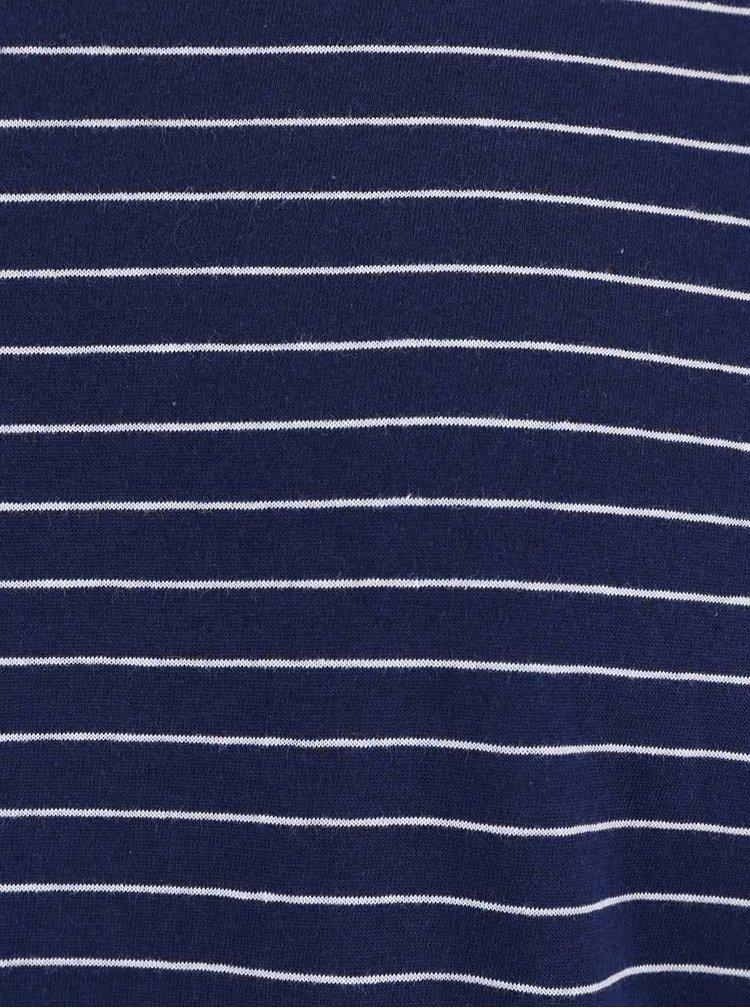 Bielo-modré pruhované tričko s dlhým rukávom !Solid Baldemar