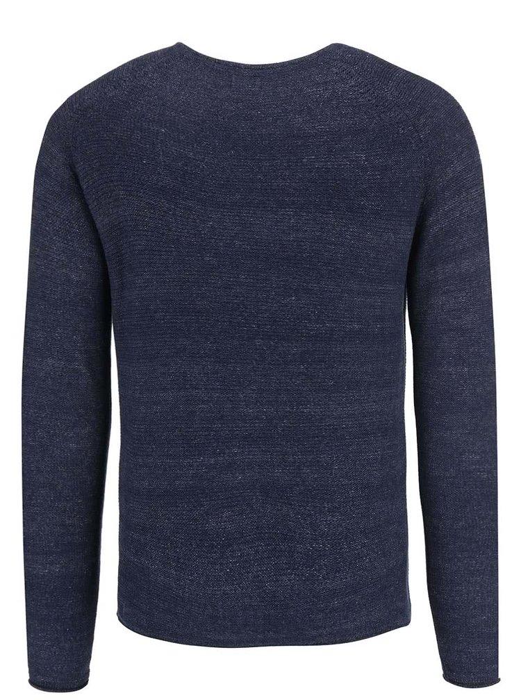 Modrý žihaný sveter !Solid Brikett