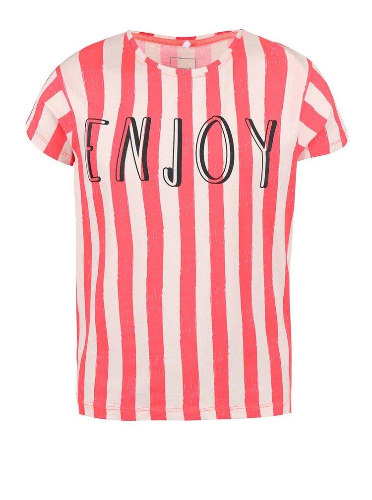 Krémovo-korálové holčičí pruhované tričko name it Helen