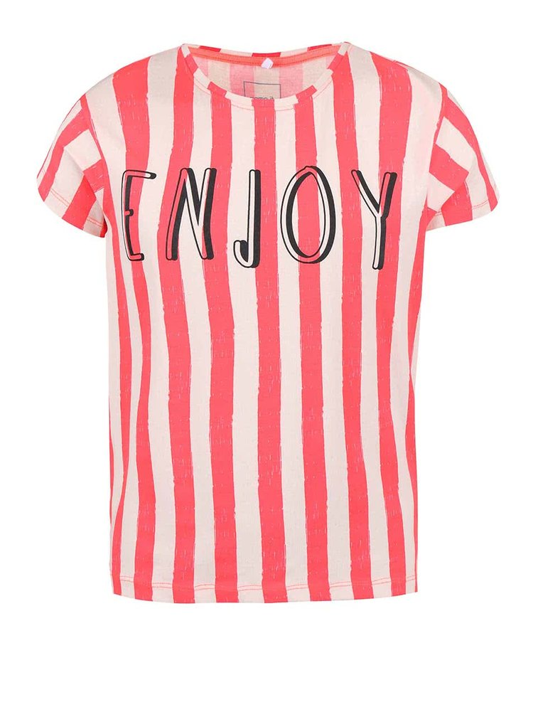 Krémovo-koralové dievčenské pruhované tričko name it Helen
